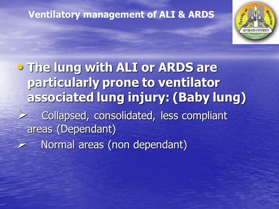 The lung with ALI or ARDS are particularly prone to ventilator associated lung injury: (Baby lung) The lung with ALI or ARDS are particularly prone to