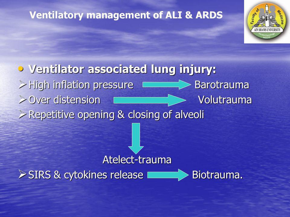 Ventilator associated lung injury: Ventilator associated lung injury: High inflation pressure Barotrauma High inflation pressure Barotrauma Over diste