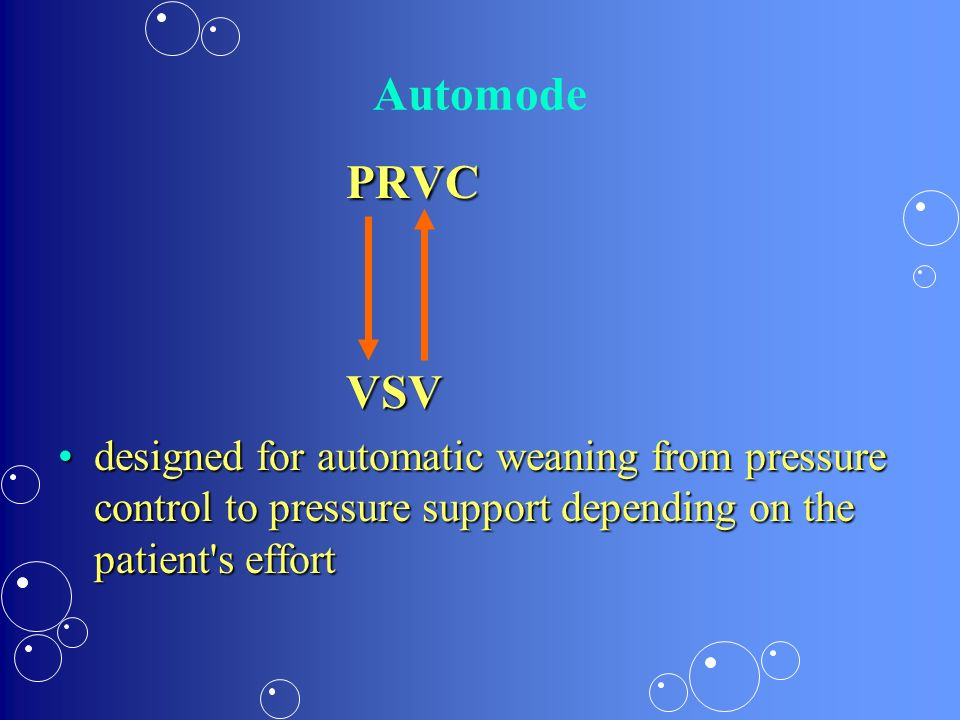 Automode PRVCVSV designed for automatic weaning from pressure control to pressure support depending on the patient's effortdesigned for automatic wean