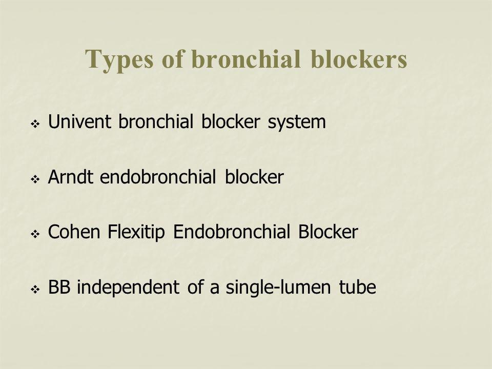 Types of bronchial blockers Univent bronchial blocker system Arndt endobronchial blocker Cohen Flexitip Endobronchial Blocker BB independent of a single-lumen tube