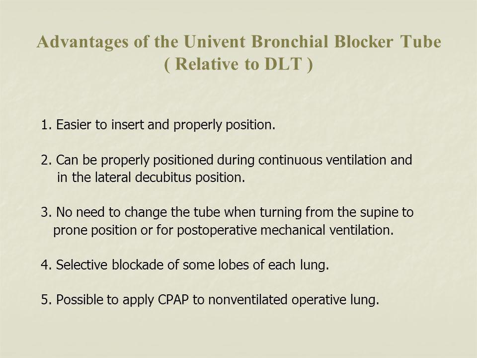 Advantages of the Univent Bronchial Blocker Tube ( Relative to DLT ) 1.