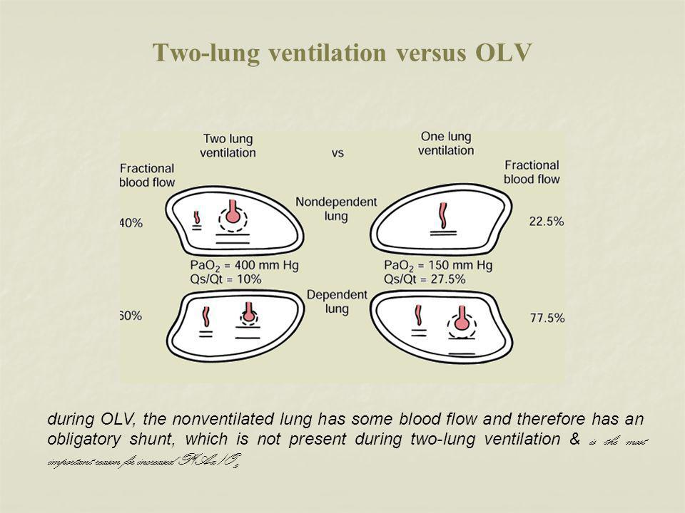 Two-lung ventilation versus OLV during OLV, the nonventilated lung has some blood flow and therefore has an obligatory shunt, which is not present during two-lung ventilation & is the most important reason for increased P(A-a)O 2.