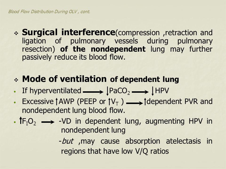 Blood Flow Distribution During OLV, cont.