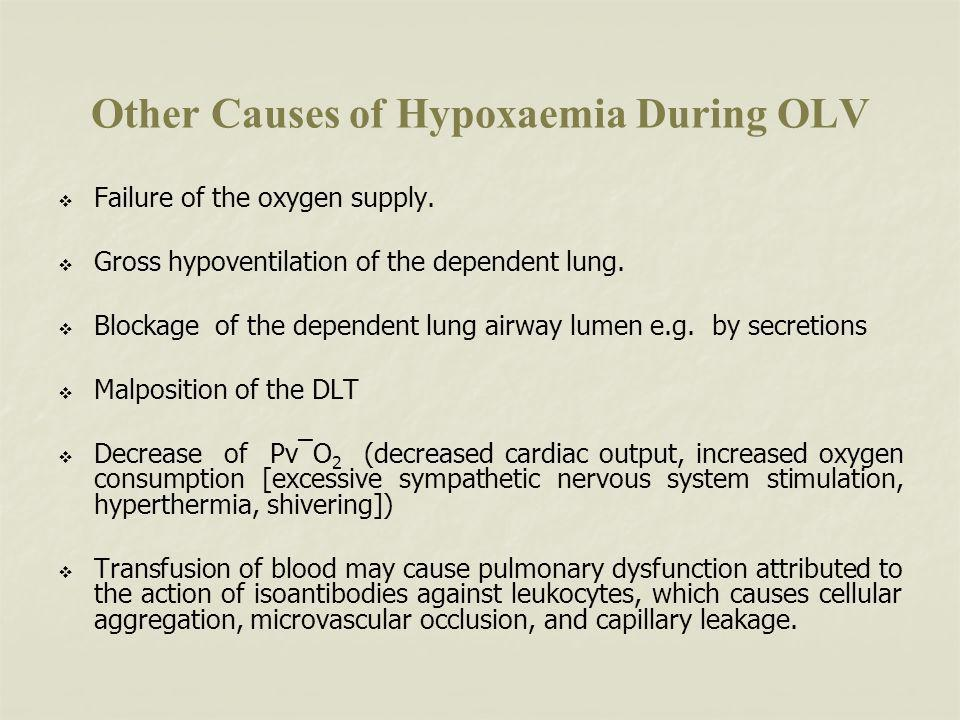 Other Causes of Hypoxaemia During OLV Failure of the oxygen supply.