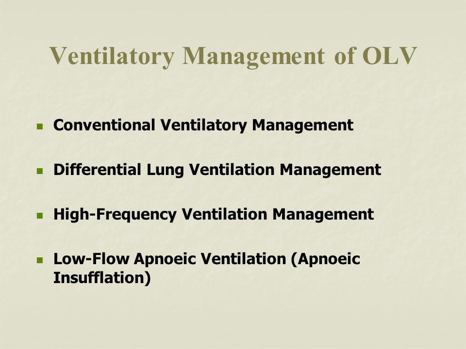 Ventilatory Management of OLV Conventional Ventilatory Management Differential Lung Ventilation Management High-Frequency Ventilation Management Low-Flow Apnoeic Ventilation (Apnoeic Insufflation)