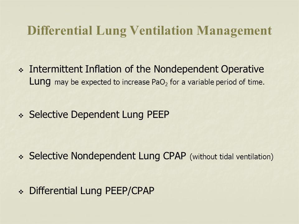 Differential Lung Ventilation Management Intermittent Inflation of the Nondependent Operative Lung may be expected to increase PaO 2 for a variable period of time.