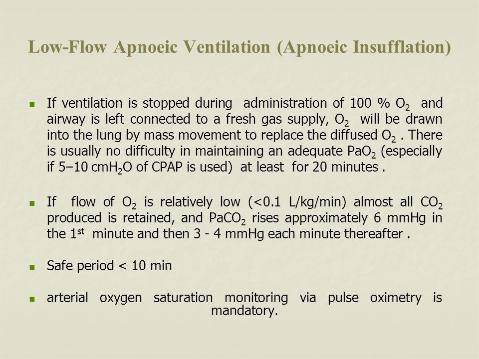 Low-Flow Apnoeic Ventilation (Apnoeic Insufflation) If ventilation is stopped during administration of 100 % O 2 and airway is left connected to a fresh gas supply, O 2 will be drawn into the lung by mass movement to replace the diffused O 2.