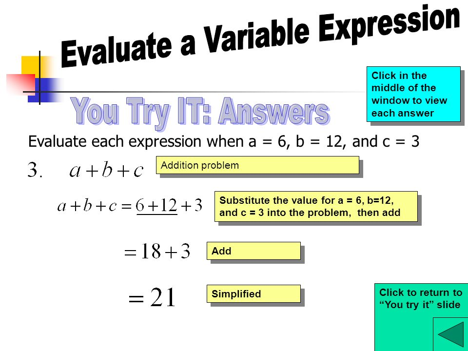 Evaluate each expression when a = 6, b = 12, and c = 3 Addition problem Substitute the value for a = 6, b=12, and c = 3 into the problem, then add Simplified Add Click to return to You try it slide Click in the middle of the window to view each answer