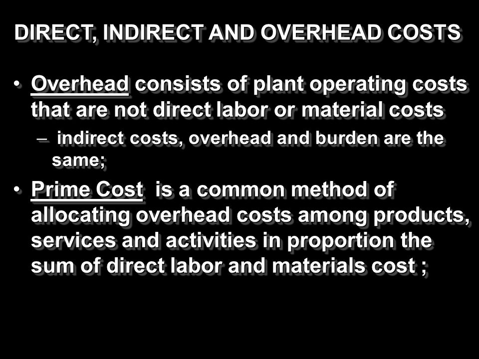 Overhead consists of plant operating costs that are not direct labor or material costsOverhead consists of plant operating costs that are not direct l