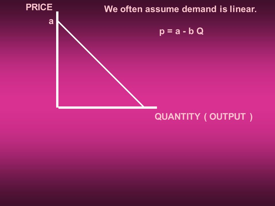 PRICE QUANTITY ( OUTPUT ) We often assume demand is linear. p = a - b Q a