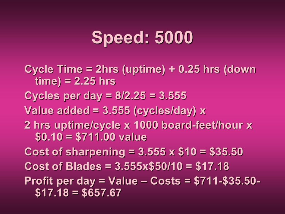 Speed: 5000 Cycle Time = 2hrs (uptime) + 0.25 hrs (down time) = 2.25 hrs Cycles per day = 8/2.25 = 3.555 Value added = 3.555 (cycles/day) x 2 hrs upti
