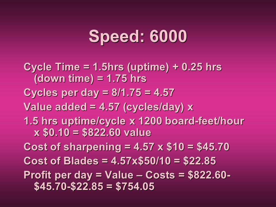 Speed: 6000 Cycle Time = 1.5hrs (uptime) + 0.25 hrs (down time) = 1.75 hrs Cycles per day = 8/1.75 = 4.57 Value added = 4.57 (cycles/day) x 1.5 hrs up