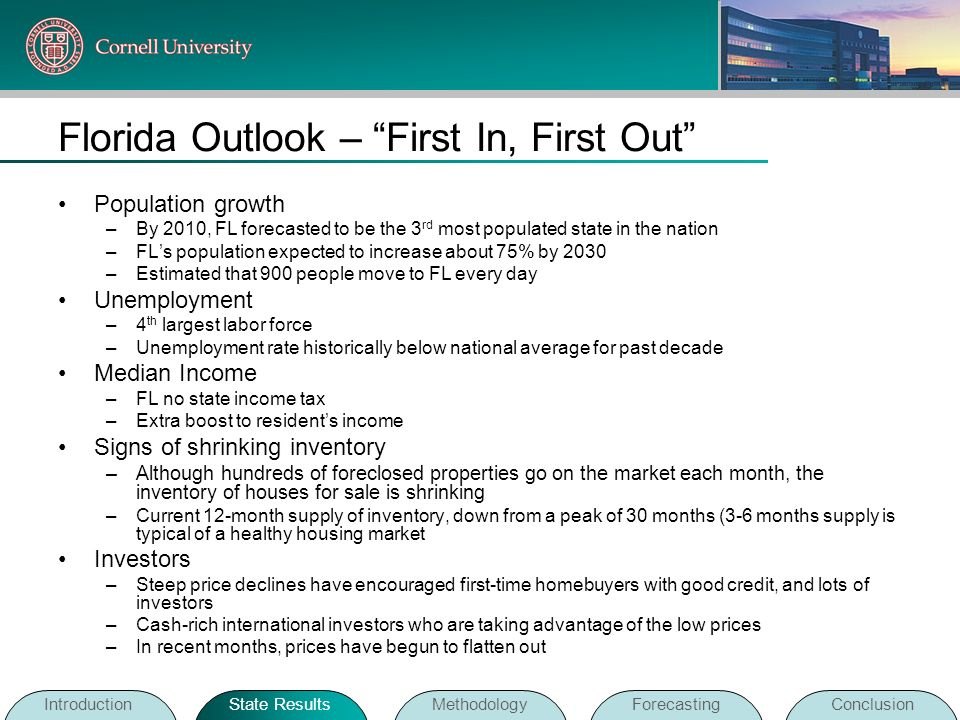 Florida Outlook – First In, First Out Population growth –By 2010, FL forecasted to be the 3 rd most populated state in the nation –FLs population expe