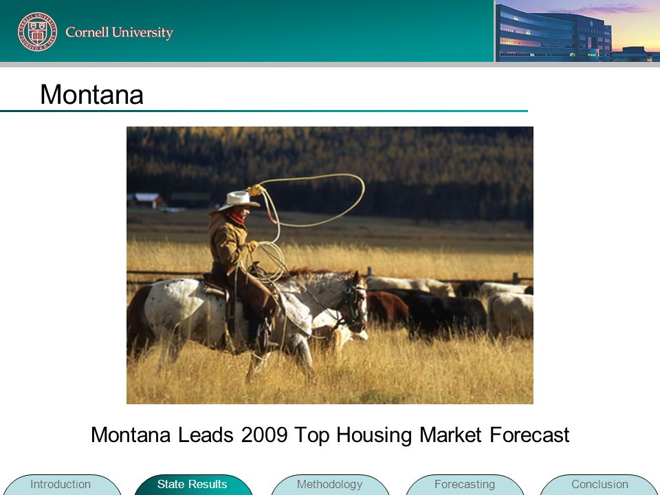 Montana IntroductionState ResultsMethodologyForecastingConclusion Montana Leads 2009 Top Housing Market Forecast