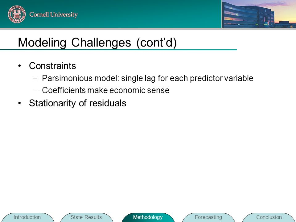 Modeling Challenges (contd) Constraints –Parsimonious model: single lag for each predictor variable –Coefficients make economic sense Stationarity of
