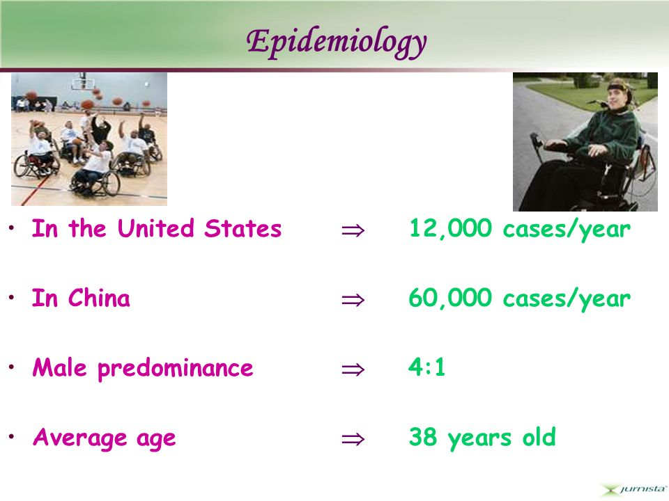 Epidemiology In the United States 12,000 cases/year In China 60,000 cases/year Male predominance 4:1 Average age 38 years old