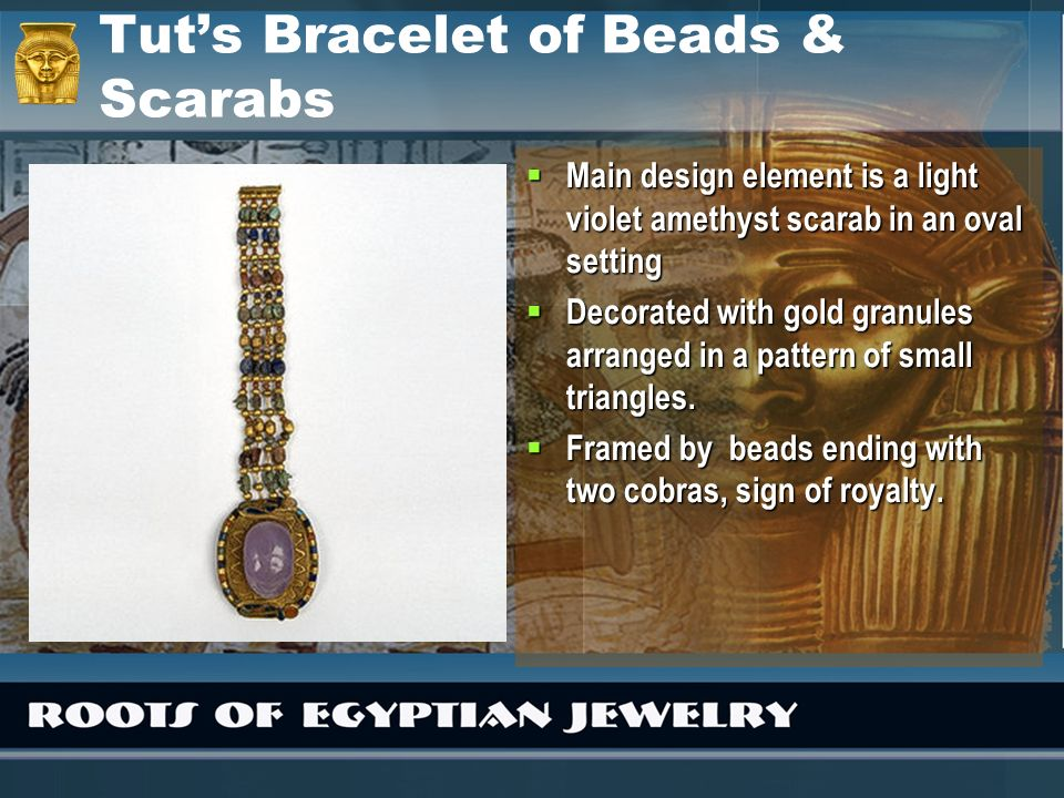 Tuts Bracelet of Beads & Scarabs Main design element is a light violet amethyst scarab in an oval setting Main design element is a light violet amethy