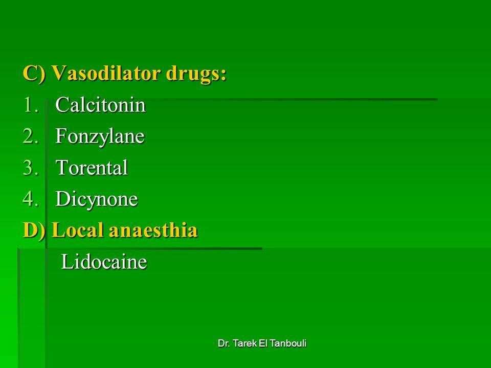 Dr. Tarek El Tanbouli C) Vasodilator drugs: 1.Calcitonin 2.Fonzylane 3.Torental 4.Dicynone D) Local anaesthia Lidocaine Lidocaine