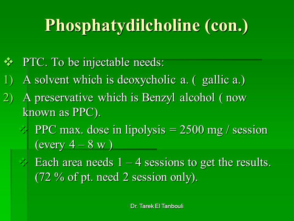 Dr. Tarek El Tanbouli Phosphatydilcholine (con.) PTC. To be injectable needs: PTC. To be injectable needs: 1)A solvent which is deoxycholic a. ( galli