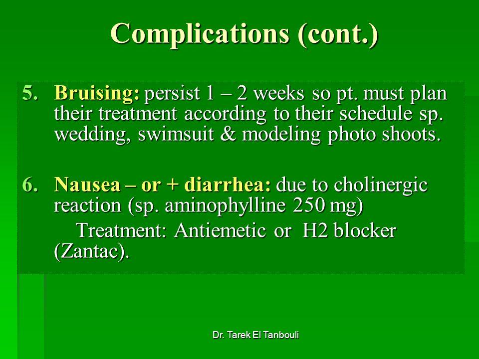 Dr. Tarek El Tanbouli Complications (cont.) 5.Bruising: persist 1 – 2 weeks so pt. must plan their treatment according to their schedule sp. wedding,
