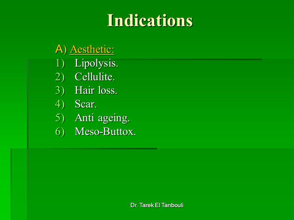 Dr. Tarek El Tanbouli Indications A ) Aesthetic: 1)Lipolysis. 2)Cellulite. 3)Hair loss. 4)Scar. 5)Anti ageing. 6)Meso-Buttox.