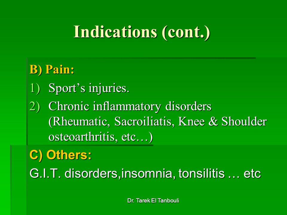 Dr. Tarek El Tanbouli Indications (cont.) B) Pain: 1)Sports injuries. 2)Chronic inflammatory disorders (Rheumatic, Sacroiliatis, Knee & Shoulder osteo
