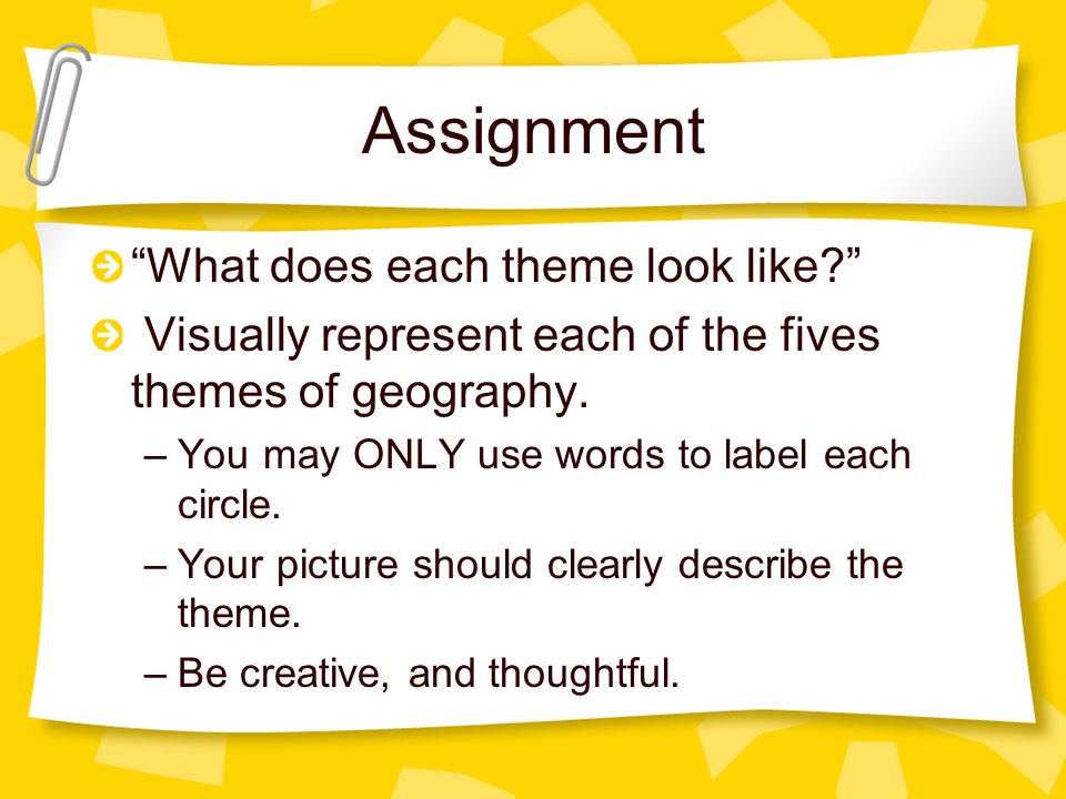 Assignment What does each theme look like? Visually represent each of the fives themes of geography. –You may ONLY use words to label each circle. –Yo