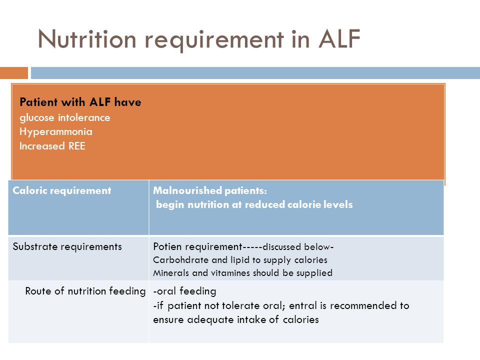 Patient with ALF have glucose intolerance Hyperammonia Increased REE Malnourished patients: begin nutrition at reduced calorie levels Caloric requirem