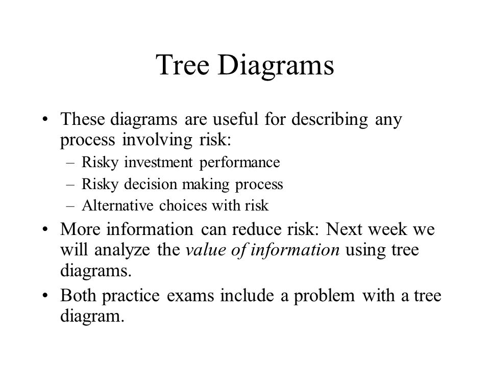 Tree Diagrams These diagrams are useful for describing any process involving risk: –Risky investment performance –Risky decision making process –Alternative choices with risk More information can reduce risk: Next week we will analyze the value of information using tree diagrams.