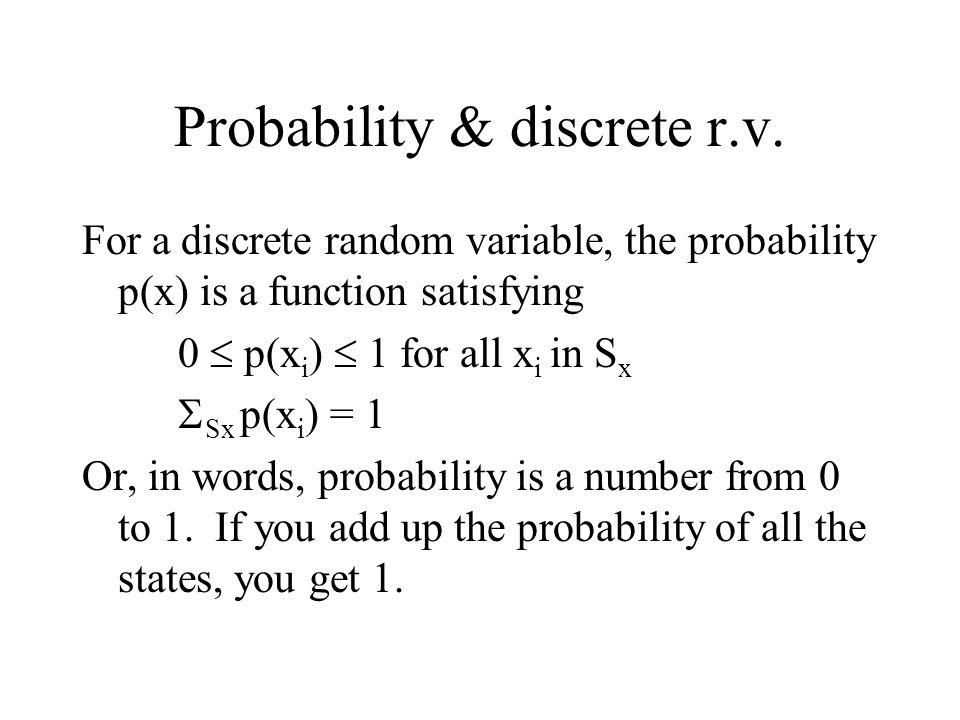 Probability & discrete r.v.