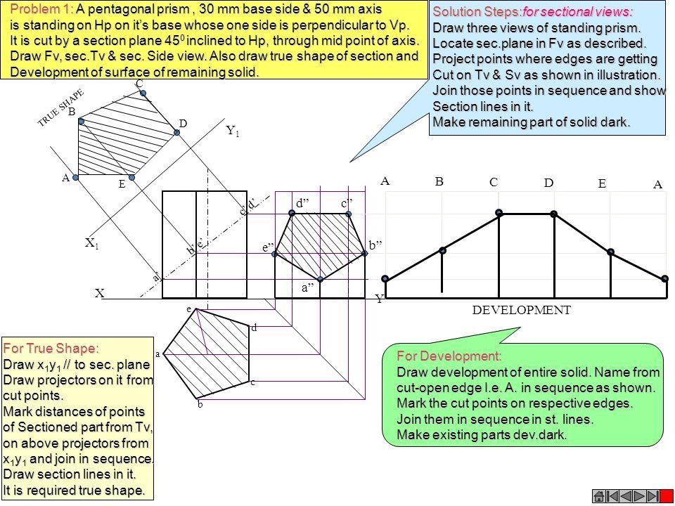 X Y X1X1 Y1Y1 a b e c d A B C E D a e d b c TRUE SHAPE A B C D E A DEVELOPMENT a b cd e Problem 1: A pentagonal prism, 30 mm base side & 50 mm axis is