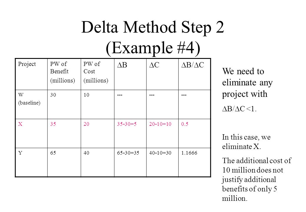 Delta Method Step 2 (Example #4) ProjectPW of Benefit (millions) PW of Cost (millions) B C B/ C W (baseline) 3010--- X352035-30=520-10=100.5 Y654065-30=3540-10=301.1666 We need to eliminate any project with B/ C <1.