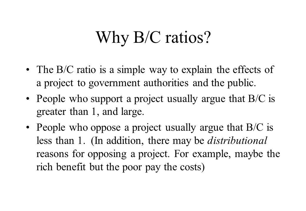Why B/C ratios.