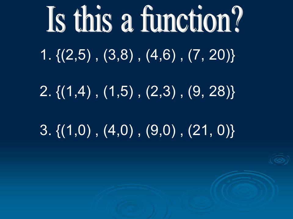 1. {(2,5), (3,8), (4,6), (7, 20)} 2. {(1,4), (1,5), (2,3), (9, 28)} 3. {(1,0), (4,0), (9,0), (21, 0)}
