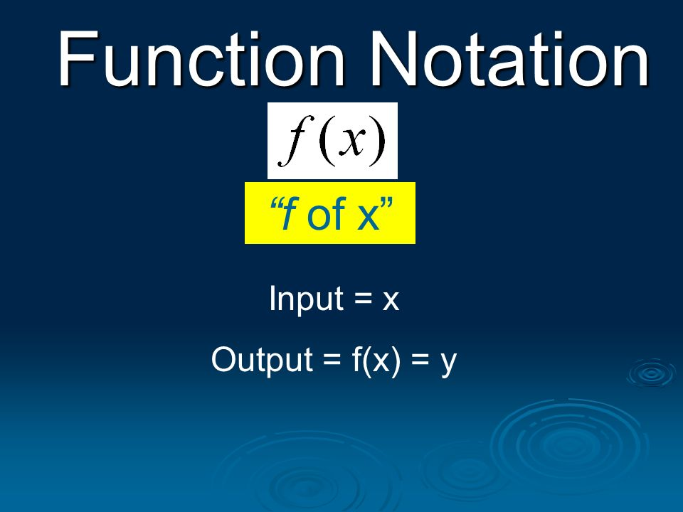 f of x Input = x Output = f(x) = y Function Notation