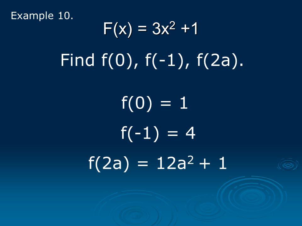 F(x) = 3x 2 +1 Example 10. Find f(0), f(-1), f(2a). f(0) = 1 f(-1) = 4 f(2a) = 12a 2 + 1