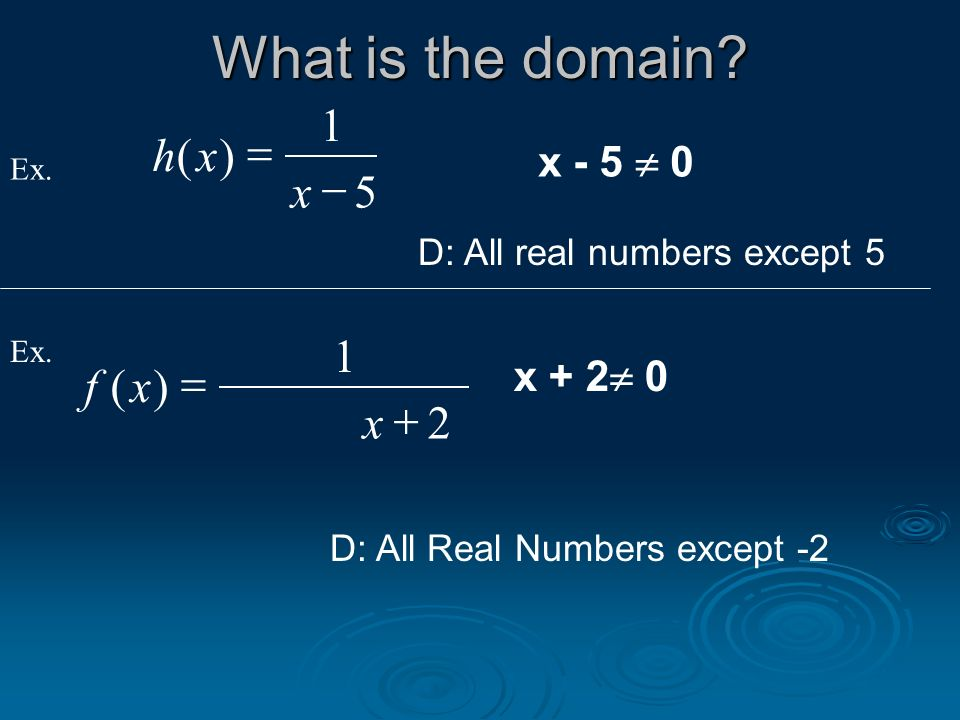 hx x () 1 5 x - 5 0 Ex. What is the domain? D: All real numbers except 5 D: All Real Numbers except -2 Ex. x + 2 0 fx x () 1 2
