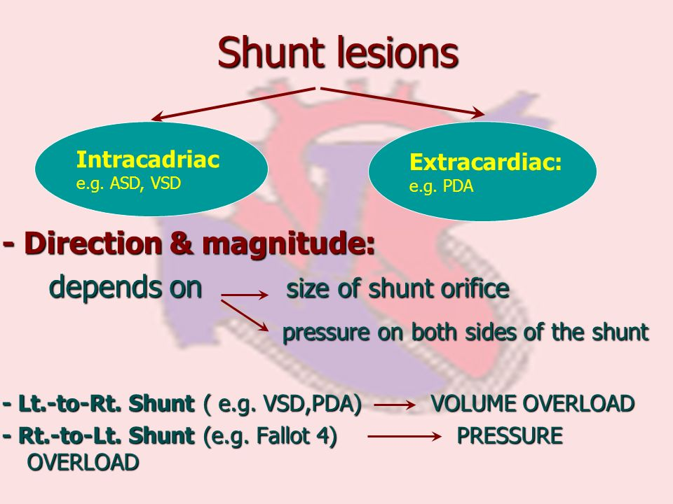 Shunt lesions - Direction & magnitude: depends on size of shunt orifice depends on size of shunt orifice pressure on both sides of the shunt pressure