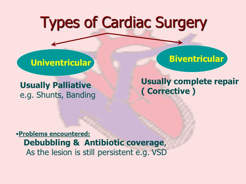 Types of Cardiac Surgery Univentricular Biventricular Usually complete repair ( Corrective ) Problems encountered: Debubbling & Antibiotic coverage, A