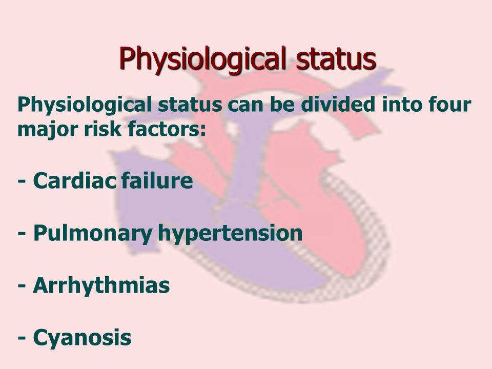 Physiological status Physiological status can be divided into four major risk factors: - Cardiac failure - Pulmonary hypertension - Arrhythmias - Cyan