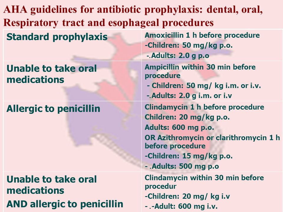 AHA guidelines for antibiotic prophylaxis: dental, oral, Respiratory tract and esophageal procedures Amoxicillin 1 h before procedure -Children: 50 mg