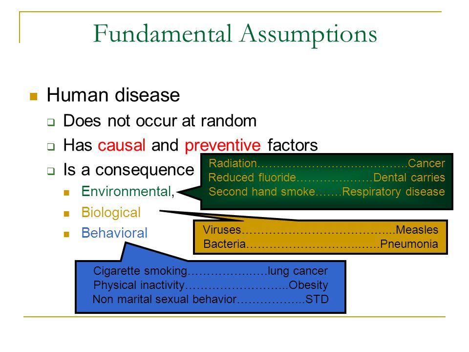 Risk assessment Involves people who develop disease due to an exposure Doesnt consider those who are sick but havent been exposed Absolute risk