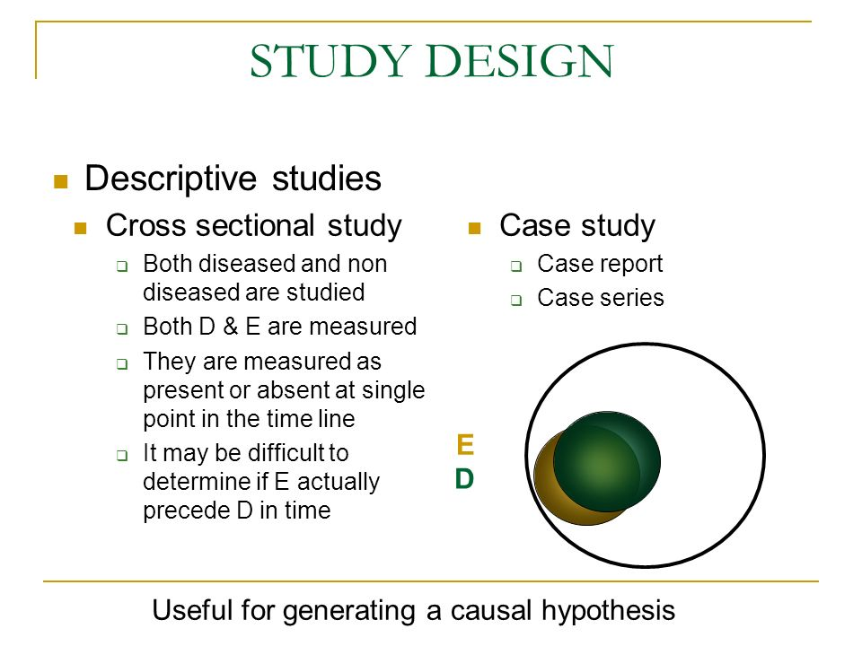 Analytical studies Observational studies Case-control Cohort Interventional studies (clinical trials) STUDY DESIGN E D ANALYTICAL STUDY