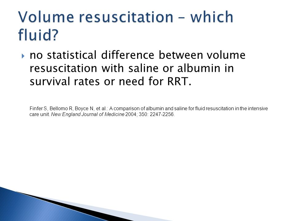 no statistical difference between volume resuscitation with saline or albumin in survival rates or need for RRT.