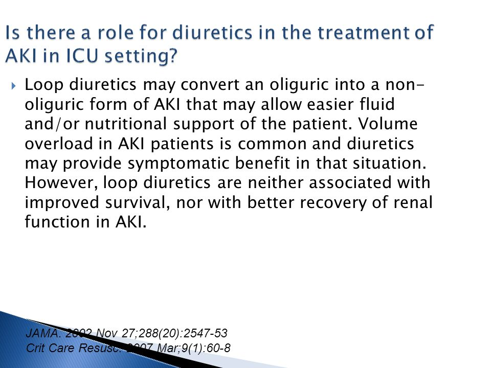 Is there a role for diuretics in the treatment of AKI in ICU setting.