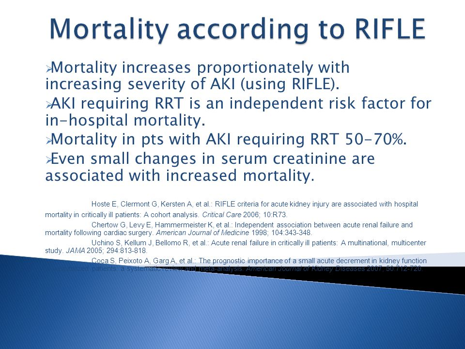Mortality increases proportionately with increasing severity of AKI (using RIFLE).