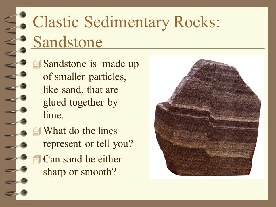 Clastic Sedimentary Rocks: Sandstone 4 Sandstone is made up of smaller particles, like sand, that are glued together by lime. 4 What do the lines repr