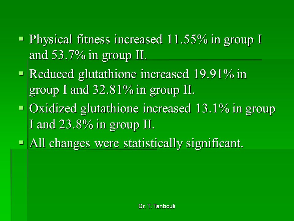 Physical fitness increased 11.55% in group I and 53.7% in group II.
