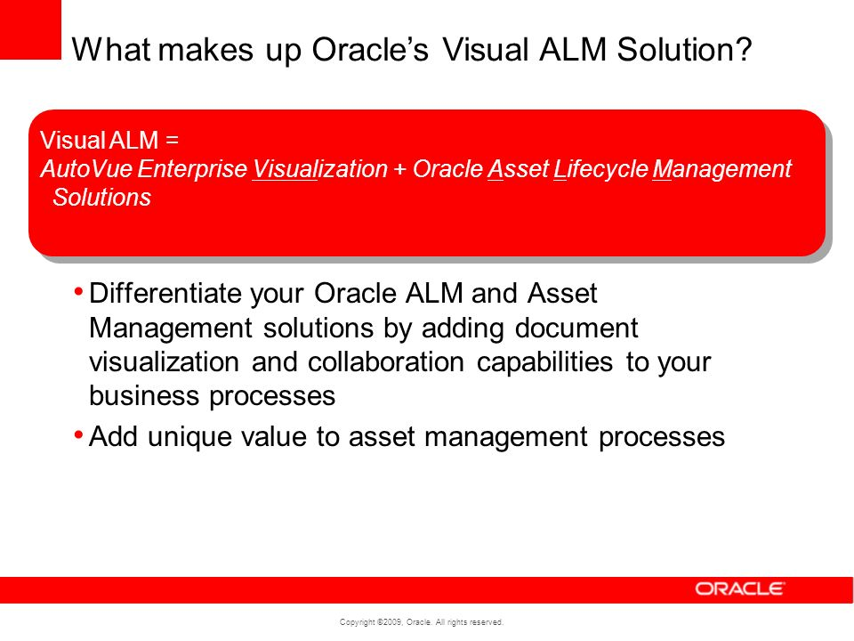 Copyright ©2009, Oracle. All rights reserved. Differentiate your Oracle ALM and Asset Management solutions by adding document visualization and collab