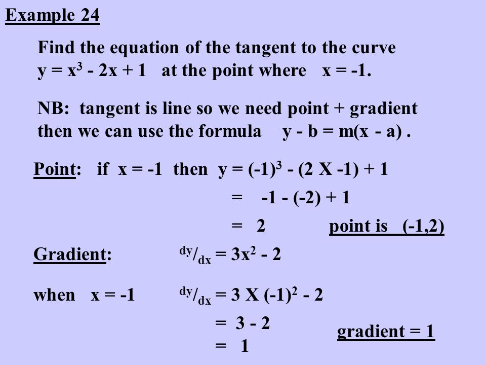 Example 24 Find the equation of the tangent to the curve y = x 3 - 2x + 1 at the point where x = -1. NB: tangent is line so we need point + gradient t